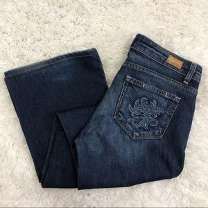 Paige Embroidered Hollywood Hills Bootcut Jeans